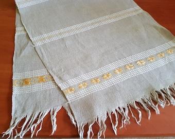 Vintage linen gray woven strip /  tablecloth / serviette / table-napkin / doily, home decoration