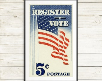 Art prints: USA flags, US flags, stars and stripes, USA posters, register vote, register to vote, vote posters, voter registration, posters