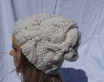 Merino Aran hat with sequin yarn