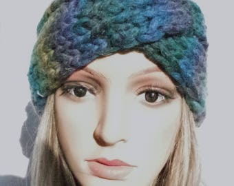 Wool headband in blue-petrol colors