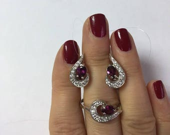925 silver, rubellite, natural stone, cubic Zirconia, ring, earrings , set,