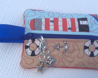 Notions case for knitting or crochet with two stitch markers/zip pulls, stitch marker case, progress keeper case, zip pouch.