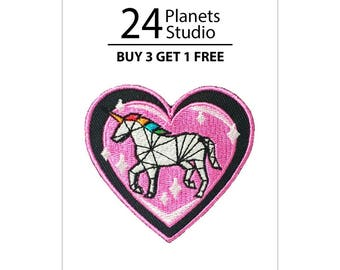 Unicorn - Heart Iron on Patch by 24PlanetsStudio