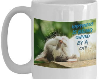 Happiness is Being Owned By A Cat! Beautiful Photo of a Gorgeous Grey and White Sleeping Kitty Cat Adorns 15 oz White  Coffee Mug!