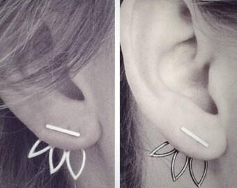 Vintage Lotus Earrings Metal Bar Stud Earrings