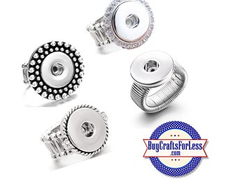 SNAP Button, 18mm STRETCH RiNGs, 4 Styles - for Changeable Snap Buttons  +FREE Shipping & Discounts