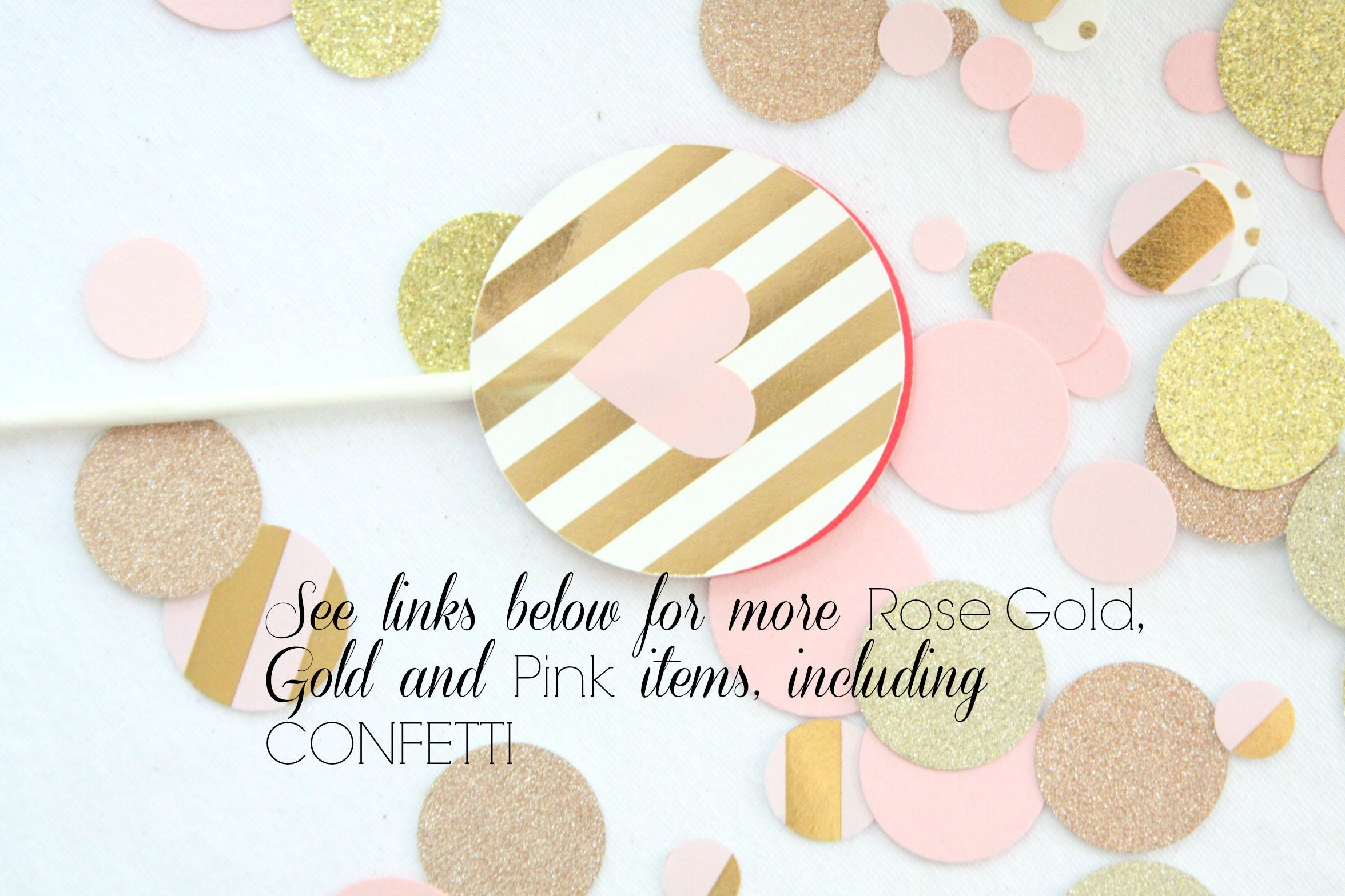 Rose Gold Confetti Pink and Gold Baby Shower Decorations Pink