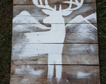 Deer painting on reclaim wood sign