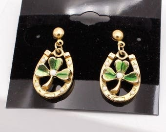 Gold Tone Lucky Horse Shoe and Clover Earrings