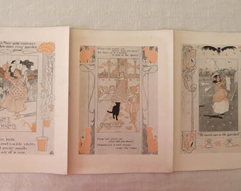 Three 1903 Children's Nursery Rhymes Lithographs illustrated by Charles Robinson