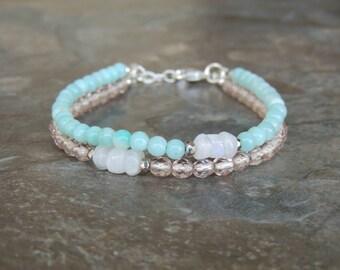 Amazonite Bracelet, Layered Bracelet, Light Blue Bracelet for Women, Gemstone Bracelet, Multistrand Bracelet, Minimalist Bracelet