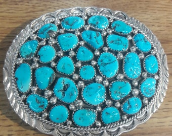 Vintage Native American Navajo Handmade Sterling Silver Multi-Stone Turquoise Belt Buckle