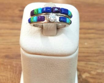 American Navajo Handmade Sterling Silver Turquoise Ring Set