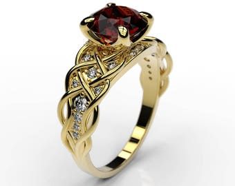 2 cts Ruby Engagement Ring with 24 Natural Diamond Accent Stones 14K Yellow Gold