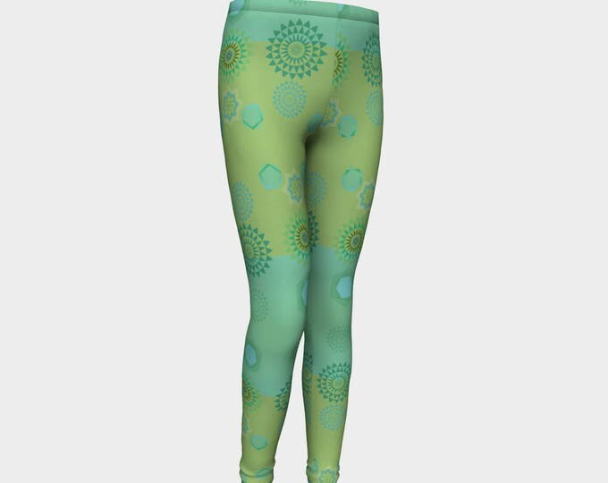 Girls Leggings, Mint Green Mandala Leggings, Girls Yoga Leggings, Leggings, Girls Clothes, Dance Leggings, Girls Yoga Pants, Gift for Girl