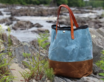 Waxed Canvas Tote with Pocket
