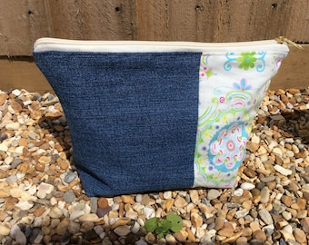 Recycled denim and floral zip bag