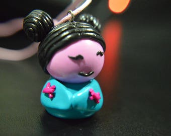 Chinese turquoise necklace and pink polymer clay