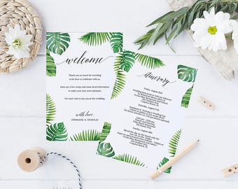 Tropical Wedding Itinerary, Welcome Bag Card, Printable Itinerary Template Download, Wedding Printable, Editable PDF Instant Download #E027