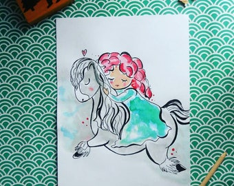 illustration A4 size, Princess rebel customizable