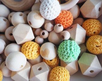 Wood Craft Beads - DIY Teething - Loose Wooden Beads - Crochet Beads - Wooden Bead Destash - Clearance - Craft Supplies - Wood Teething Toys