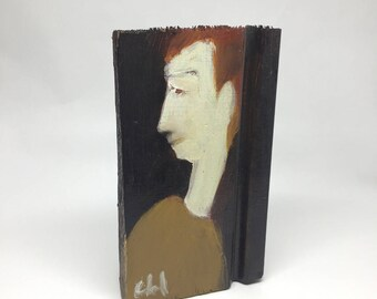 Small painting on wood, decorative gift - character profile