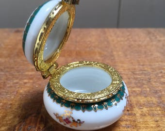 Porcelain French Vintage Pill , Trinket Pot.