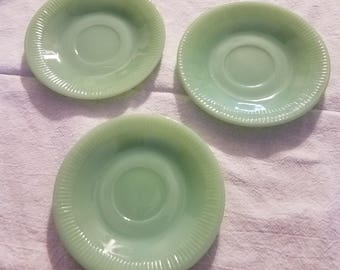 1950s Vintage Jadeite Glass Saucers Set of 3