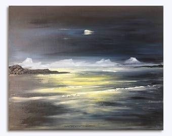 Beautiful original acrylic painting of seascape at night, high quality, contemporary painting, moon landscape, wall painting