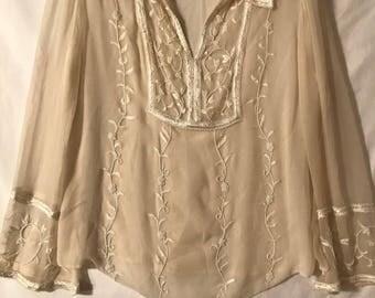 Emma Black Vintage Sheer Embroidered& Pearled Blouse