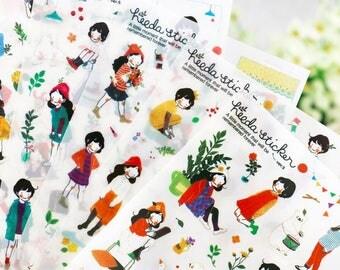 6Sheets Sweet Girl Stickers,Label Sticker, Stationery Sticker, Scrapbooking Sticker, Planner Stickers, Decorative Stickers,Korea Stationery