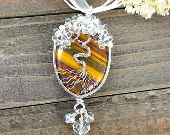 Brown Tree-of-Life, Jasper Tree Jewelry, Rustic Tree Jewelry, Rustic Tree Necklace, BOHO Amulets, Bridesmaid Amulets, Dating Anniversary