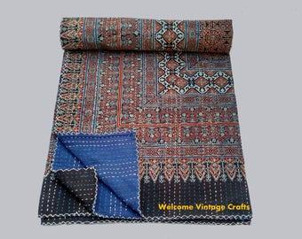 Queen Size Indigo block print Kantha Quilt Handblock kantha King Size Quilt Cotton Blanket Kantha Throw Bedcover Bedsheet blanket Quilt thro
