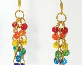 Multi Coloured Rainbow Hand Made Earrings - Free Shipping USA & Canada