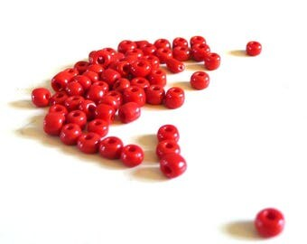 Large seed beads Red 10g - 4 mm