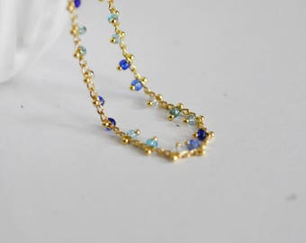 Beaded gold chain 16 k - blue