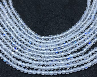 On sale AAA white rainbow micro faceted beads,13 inches strand ,2mm, white rainbow faceted beads