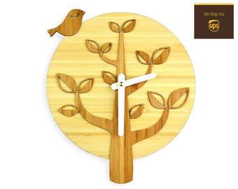 Bird On The Tree - Bamboo Wall Clock