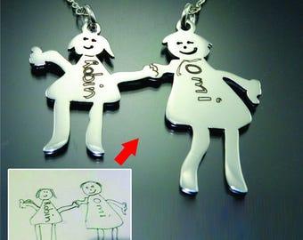 Kids Art Drawing, Kids Drawing, Silver Kids Art Drawing, Custom Kids Drawing Necklace Silver ONLY 59