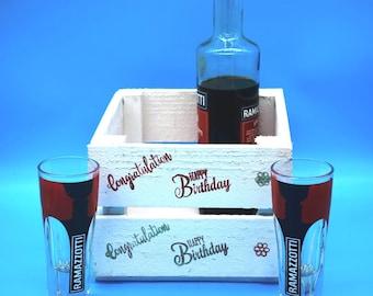 Table decorations, wedding, Hochzeitsdeko, birthday box, bottle box, gift box, storage, wooden crate, birthday box, wall shelf, CD