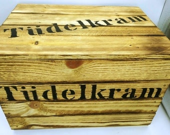 Tüdelkram, Tüddelkram, wooden chest, storage, chest, occasional table, treasure chest, box with lid, Toy box, game box, gift box