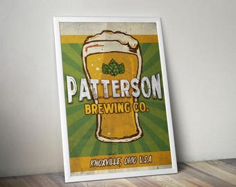Father's Day Man Cave Personalized Custom Beer Brewing Bar Poster