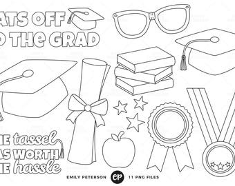50% OFF SALE! Graduation Digital Stamps, School Line Art, Graduation Hat Clip Art - Commercial Use, Instant Download