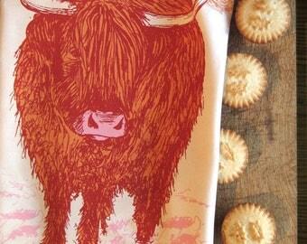 Highland Cow Tea Towel / Scottish Dish Towel