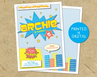 Invites - Personalised Superhero Birthday Invites - Printed or Digital