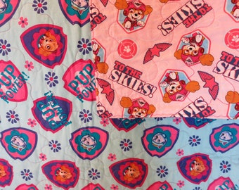 Gift for girl, Pup Power Girl Quilt, Girl Blanket, To the Skies!, Lap Quilt, Wall Hanging