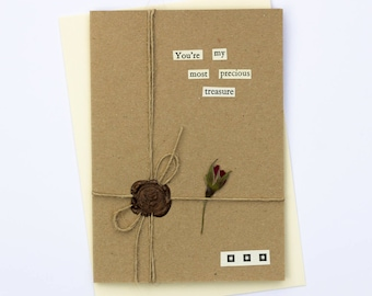Most Precious Treasure Romantic Handmade Wax Seal Dried Flower Greetings Card
