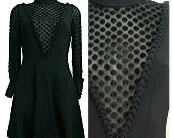 French Black wool Crepe and Velvet Polka Dot Mini Dress Handmade by French Seamstress  - Size UK 10 / EU 38  - Vintage 1980s