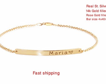 valentines day gifts, Personalized Bar Bracelet, Christmas Gift, Custom Date Bracelet, Roman Numerals, Gold bar Bracelet, Monogram Bracelet