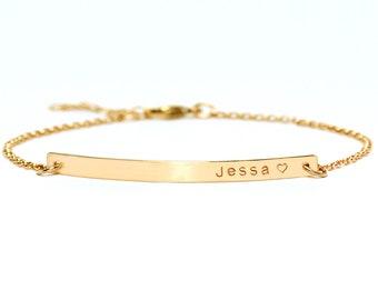 Personalized Bar Bracelet with CZ, Engraved Bracelet, Roman numerals Custom Name Gold Bar Bracelet Nameplate, Monogram Bracelet, Bridesmaid